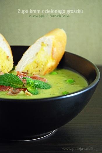 Zupa krem z zielonego groszku z miętą i boczkiem