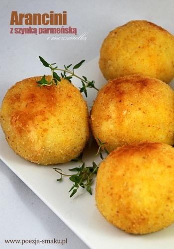 Arancini z szynką parmeńską i mozzarellą
