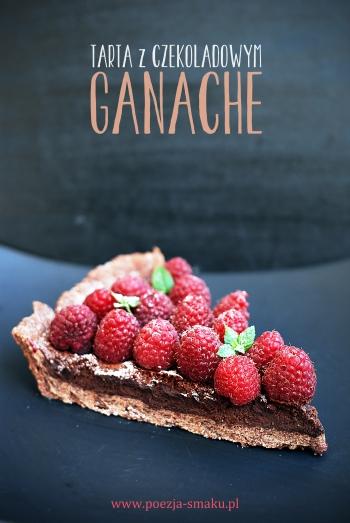 Tarta z czekoladowym ganache i malinami
