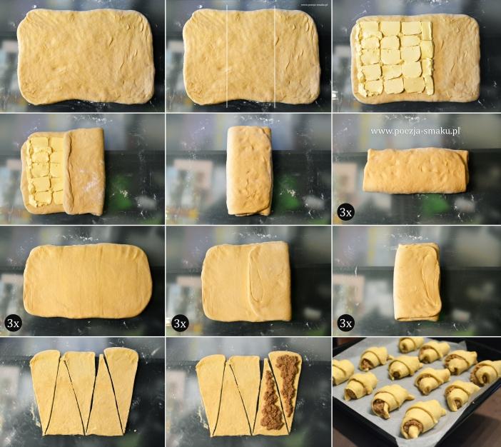 Rogale świętomarcińskie - zwijanie ciasta francuskiego