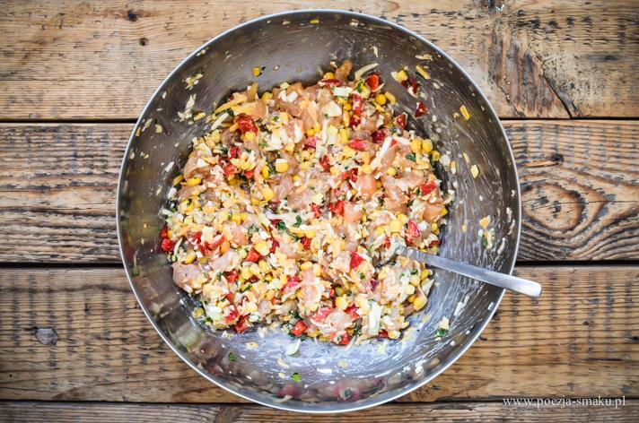Kotlety szarpane z kurczaka i warzyw