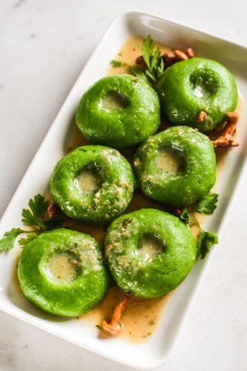 Zielone kluski śląskie - ze szpinakiem