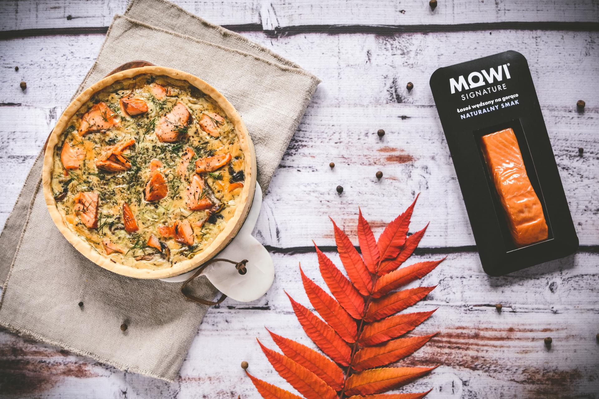 Tarta z wędzonym łososiem i porem - idealna na jesień