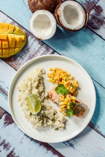 Łosoś z salsą mango i kokosowym ryżem - najlepszy